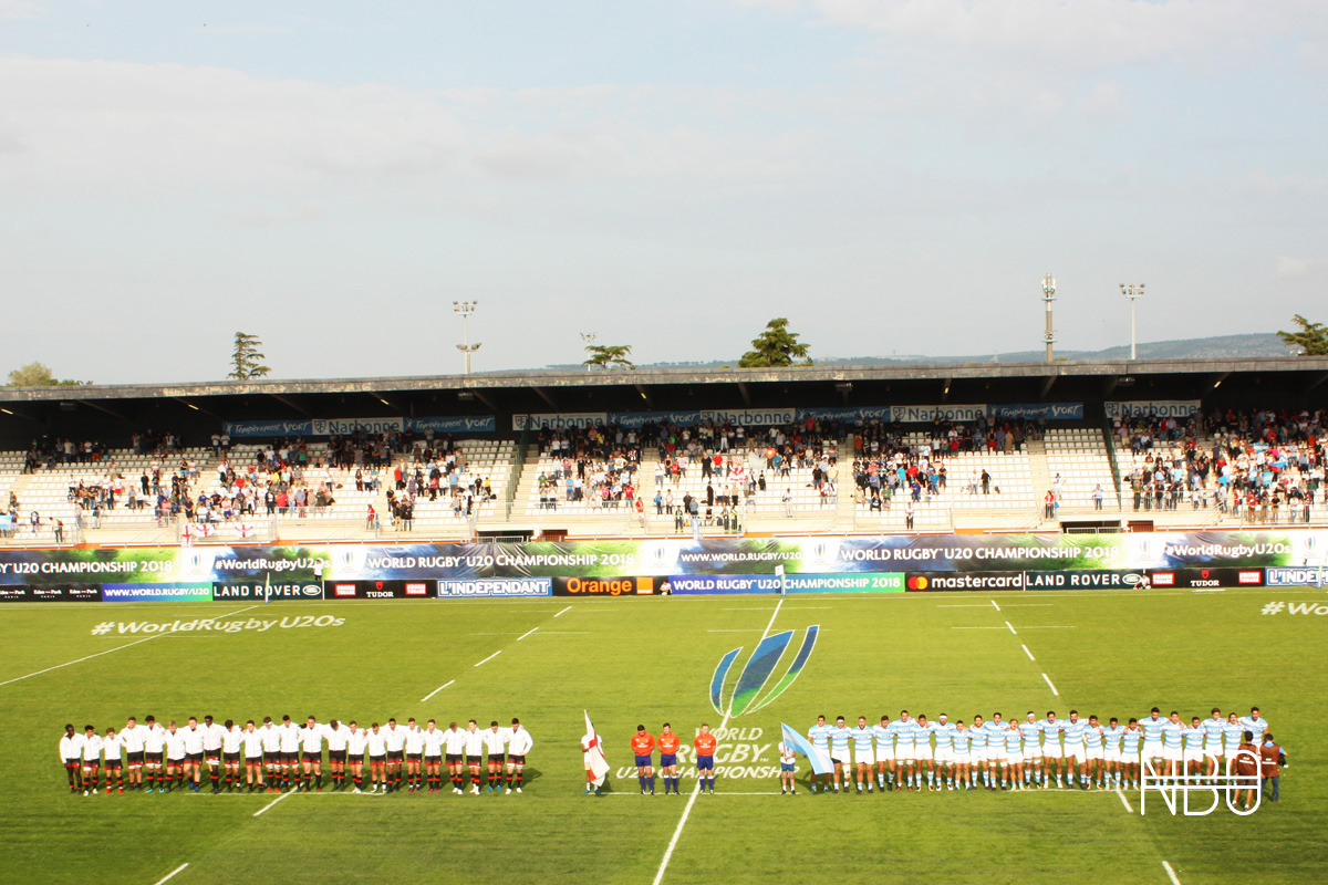 England U20 and Argentina U20 line up for the national anthems / Joe Ruzvidzo