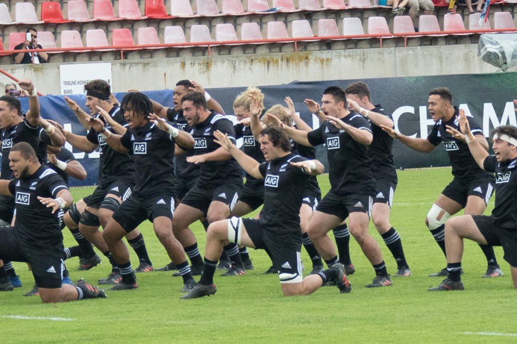 New Zealand perform the haka before their match against Wales. Photo: Bernard Rivière / World Rugby.